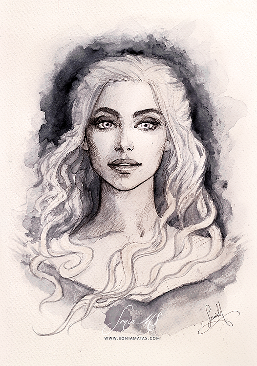 Khaleesi ink portrait A3