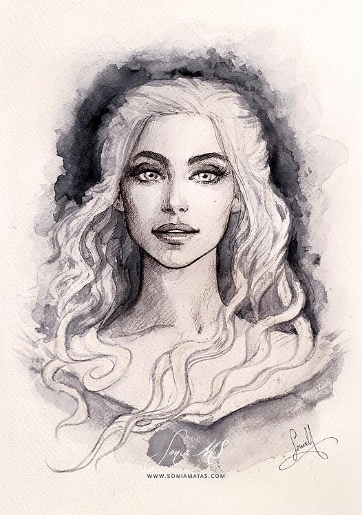 Khaleesi ink portrait A4