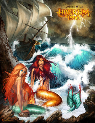 Mermaids commission by Daphne Wills // Encargo de la escritora Daphne Wills, sirenas, sirena, pirata,barco, mar, olas, portada, ilustracion, cover art, illustration, Sonia Matas, Sonia MS, ilustadora,