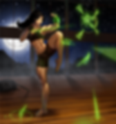 muscled girl martial arts futuristic illustration hologram