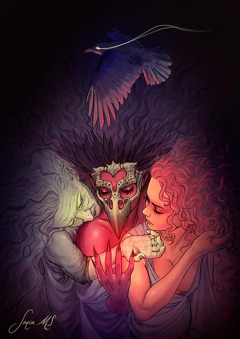 Morrigan Babd and macha [print A4]