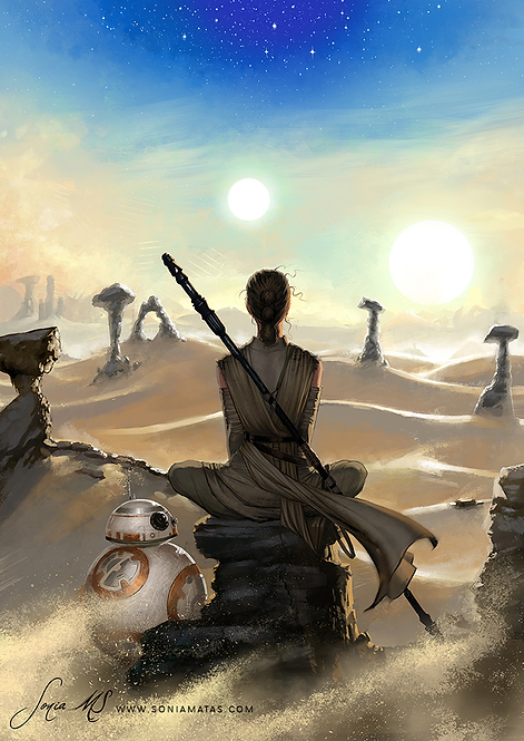 Rey & BB8 A4