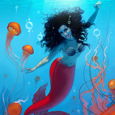Mermaid with jellyfishes