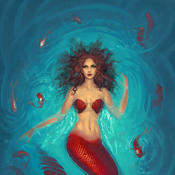 Mermaid with fishes