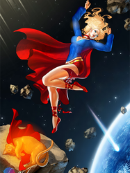 Commission - Supergirl & Streaky