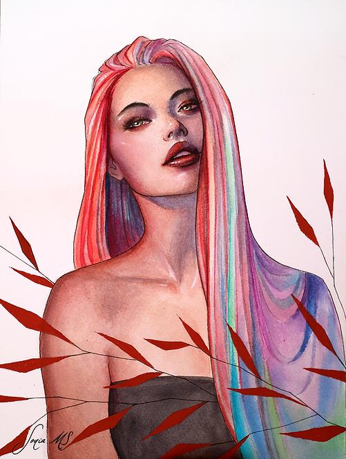 Rainbow hair (mixed media)