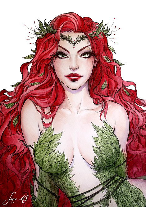 Poison Ivy watercolor 1 -  A3