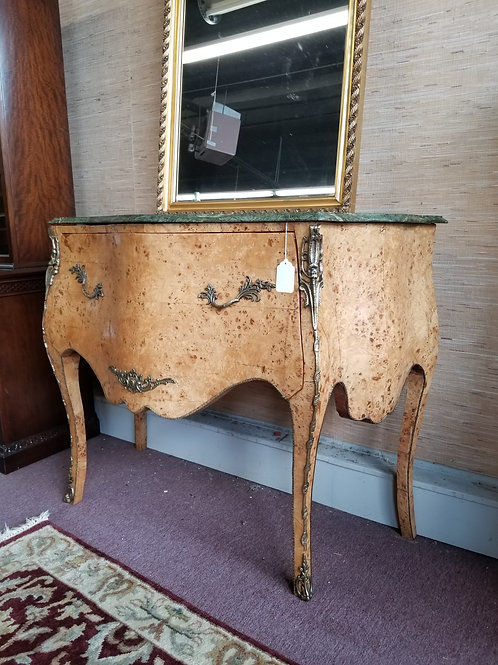 French Bombay Comode w/ Marble Top in Birds Eye Maple - Circa 1930
