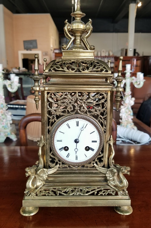 "Brass Cathedral Clock 15"" Tall - Late 19th Century"