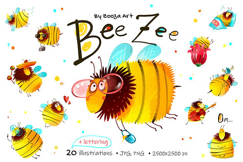 Bee Zee - 20 illustrations and lettering