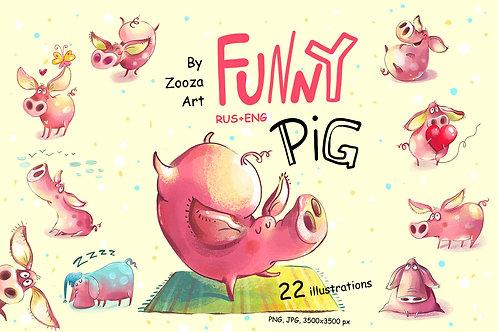 Funny Pig - 22 illustrations