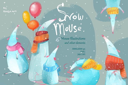 Snow Mouse cozy illustrations