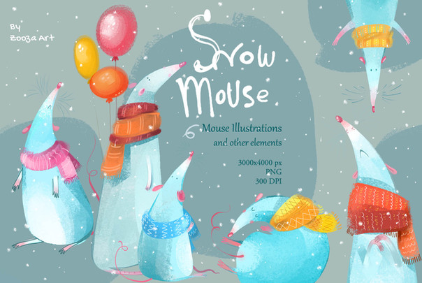 Snow Mouse illustrations