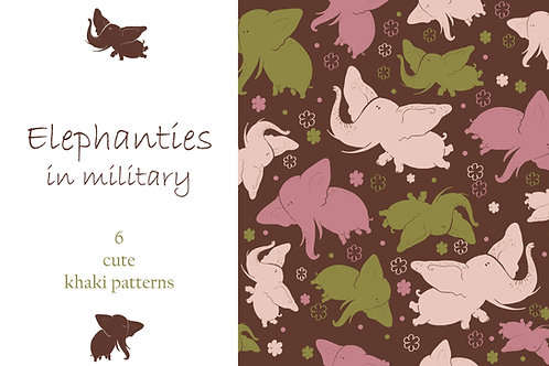 Elephanties in military - patterns
