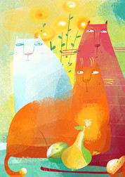 """Illustration from the poster maker """"Still-life with a cat"""""""