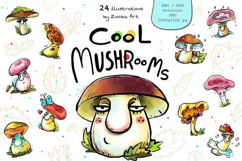 Cool Mushrooms - 24 illustrations Rus+Eng