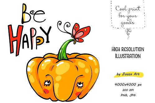 Be happy Pumpkin illustration