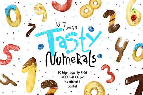 Tasty Numerals - 10 illustrations