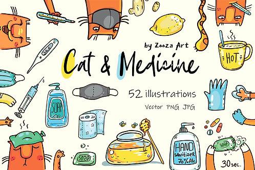 Cat and medicine - 52 illustrations