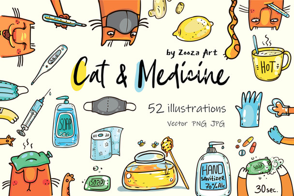 Cat and Medicine - illustrations set