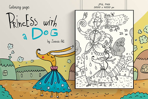 Princess with a Dog - coloring page