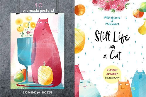 Still Life with Cat - poster creator