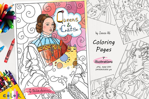 Queens and Cats - coloring pages