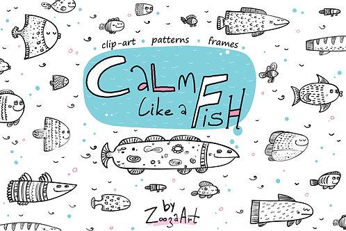 Calm like a Fish - clip-art, patterns