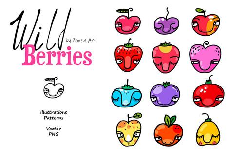Wild Berries clip-art, patterns