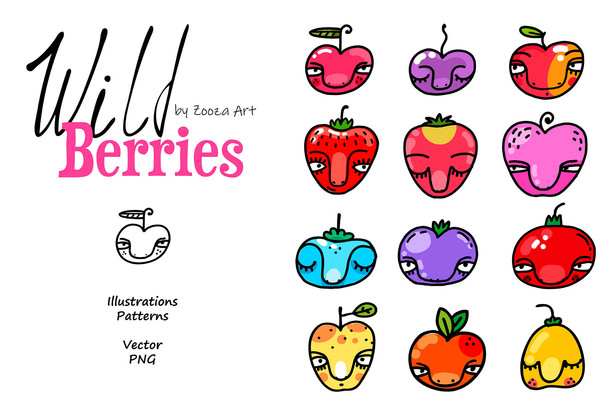 Wild Berries clip-art, patterns