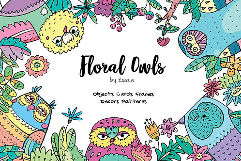 Floral Owls - 55 objects