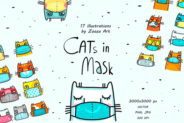 Cats in mask illustrations