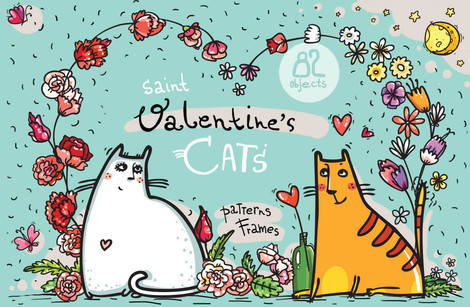 St.Valentine's Cats - 82 elements