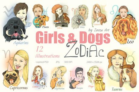 Girls&Dogs Zodiac - illustrations