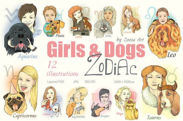 Girls&Dogs Zodiac - illustrations
