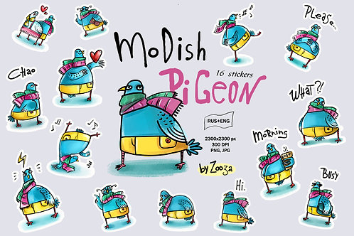 Modish Pigeon - sticker pack