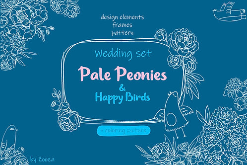Wedding set - Pale Peonies and Happy Birds