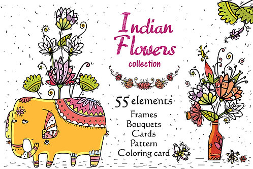 Indian Flowers - clip-art collection, frames, patterns