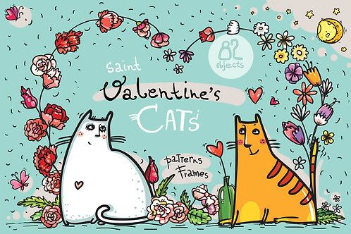 Saint Valentine's Cats - patterns, frames