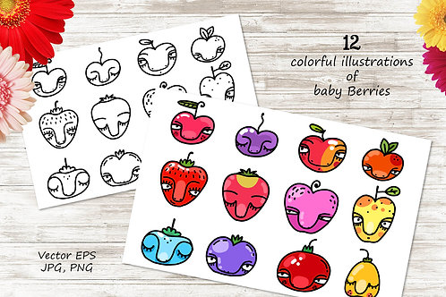 Wild Berries - 12 illustrations and patterns
