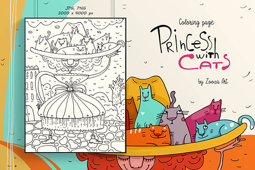 Princess with cats - coloring page