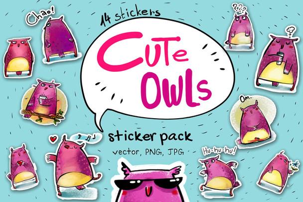 Sticker pack: Cute Owls