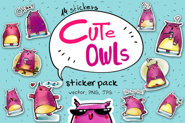 Sticker pack: Cute Owls