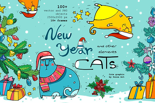 New Year Cats - 100+elements. illustrations
