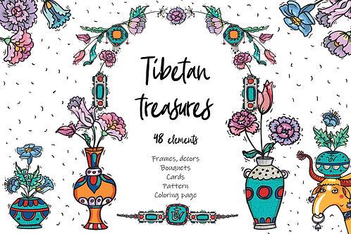 Tibetan Treasures oriental clip-art