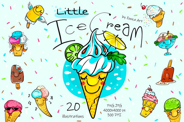 Little Ice Cream - 20 illustrations