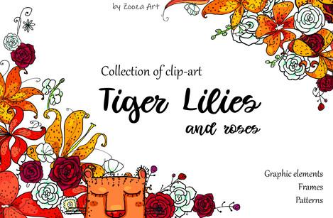 Tiger Lilies & Roses - clip-art