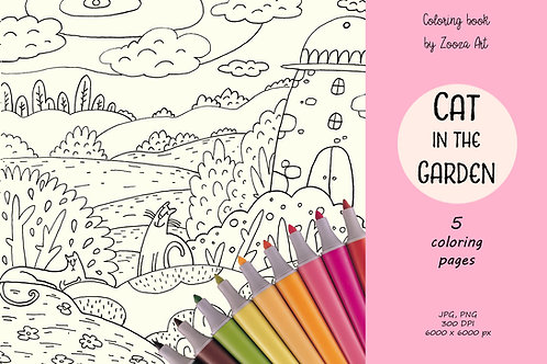 Cat in the Garden - coloring book