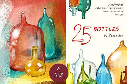 25 bottles watercolor illustrations