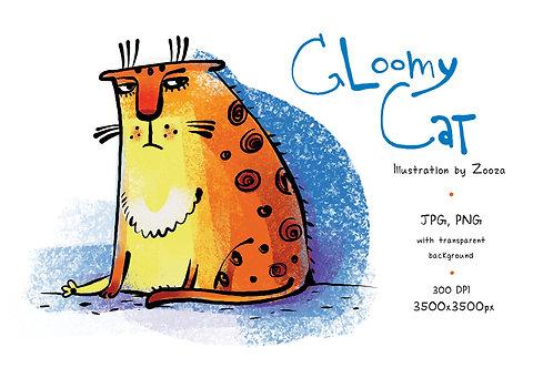 Gloomy Cat - illustration